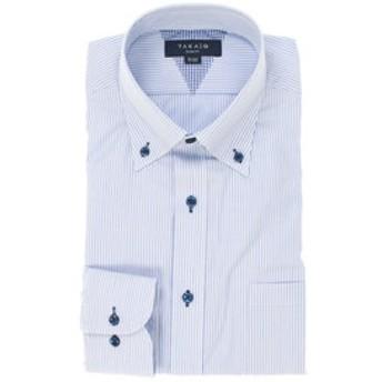 【TAKA-Q:トップス】形態安定抗菌防臭スリムフィットボタンダウン長袖ビジネスドレスシャツ