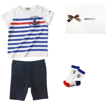 ミキハウス ■イカリマークのボーダー半袖Tシャツ 3点ギフトセット【F(70-80cm) 白】