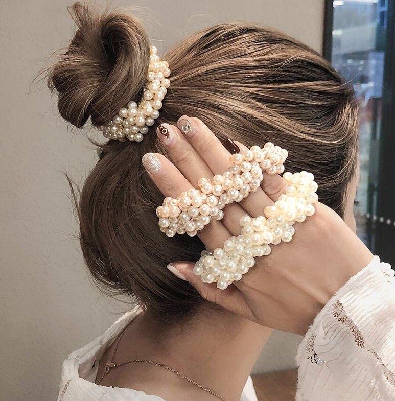 一個女孩的衣櫥--韓國東大門-국의 슈 세일日韓時髦網紅款!! ◙ ◚ ◛ 小香風網紅爆紅珍珠手工髮圈 ◙ ◚ ◛ ~公主頭~包包頭專用~超韓!!