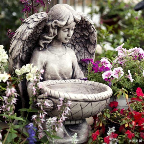 雕塑擺件 戶外天使花盆石膏人物女孩花園做舊復古多肉植物盆栽大口徑 DR24477【衣好月圓】