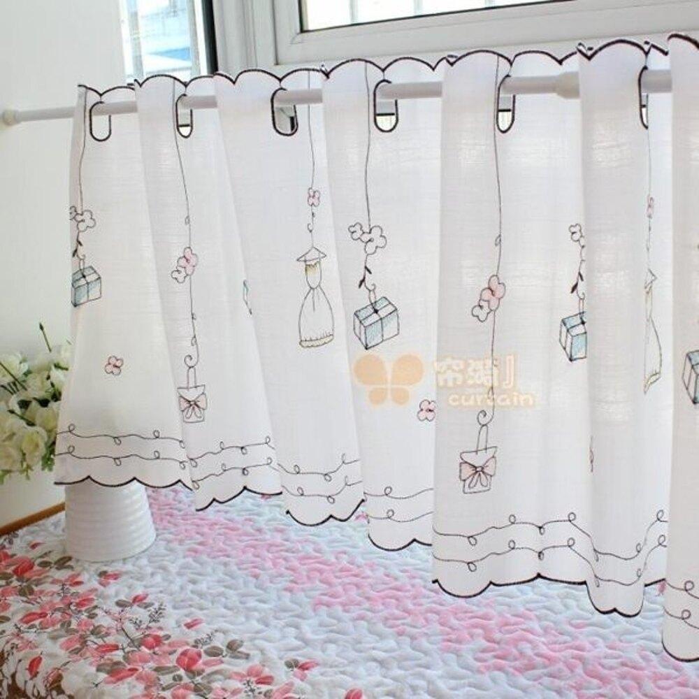 可愛時尚田園門簾44 廚房半簾 咖啡簾 窗幔簾 穿杆簾 (150*45cm) 風水簾布款