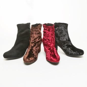 ブーツ - VIVIAN Collection minky me!(ミンキーミー)ラウンドトゥ スクエアヒール ストレッチブーツ クラッシュベロア ベロアスエードスウェードトリコット 高反発クッション 太ヒール 安定感 バックファスナー 歩きやすい 黒 レディース 靴