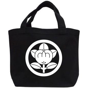 家紋ミニトートバッグ「丸に橘」ブラック+ホワイト