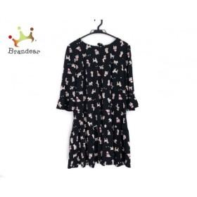 ローズティアラ ワンピース サイズ46 XL レディース 黒×ベージュ×ピンク リボン/犬柄 新着 20190722