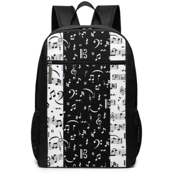 ShareBy リュック ビジネスリュック バックパック リュックサック 音楽のメモで黒と白 丈夫 17インチ 多機能 大容量 撥水加工 人気 学生 鞄 メンズ レディース 通勤 通学 出張 デイパック マザーパック 2019最新版