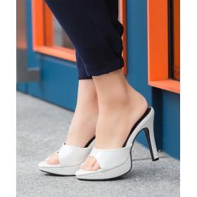 サンダル - Outletshoes ストーム付き ハイヒール ミュール サンダル 黒 レディース 靴 美脚 大きいサイズ 小さいサイズエナメルパーティ厚底プラットフォーム履きやすい 歩きやすい シューズ 靴 サンダル 夏