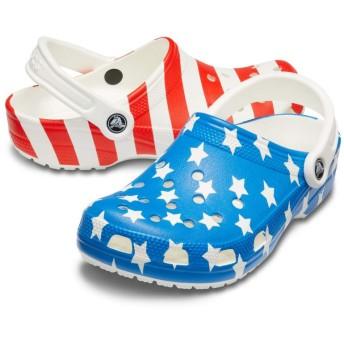 【クロックス公式】 クラシック アメリカン フラッグ クロッグ Classic American Flag Clog ユニセックス、メンズ、レディース、男女兼用 ホワイト/白 22cm,23cm,24cm,25cm,26cm,27cm,28cm clog クロッグ サンダル
