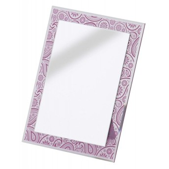 AZUMAYA 卓上ミラー ミラー 鏡 ペイズリー柄 ピンク色 ADP-107605