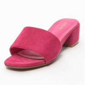 ミュール - Re: EDIT 夏の足もとに鮮やかなアクセント スクエアトゥワンベルトカラーサンダル シューズ/サンダル/ヒールサンダル