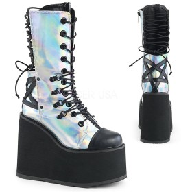 [Pleaser] 【即納】Demonia latform Wedge Double D-Ring Lace-Up Front Mid Calf Boot[サイズ:8(24~25cm)]