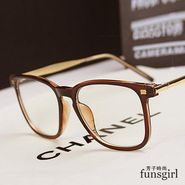 金屬元素框架復古平光亮/霧面材質方框眼鏡-2色~funsgirl芳子時尚 【B210092】