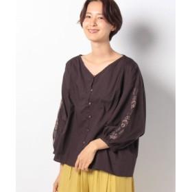 (Samansa Mos2/サマンサ モスモス)袖刺繍ピンタックブラウス/レディース ネイビー