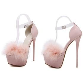 サンダル レディース ストラップ ファー ハイヒール ピンヒール 歩きやすい オープントゥ ブラック レッド 黒 キャバ 結婚式 お呼ばれ 靴 シューズ 大きいサイズ 小さいサイズ 赤 ピンク ホワイト 白 パンプス