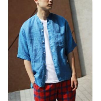 (JOURNAL STANDARD/ジャーナルスタンダード)Linen Panama バンドカラーシャツ/メンズ ネイビーC