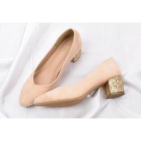 パンプス - Shoes in Closet キラキラのグリッターヒールが目を引く!後ろ姿に存在感のある足元を演出!おしゃれと歩きやすさを兼ね備えたチャンキーヒールパンプス!低反発クッションで歩きやすく疲れにくい♪【太ヒールミドルヒール スエード調 きらきら 靴 パーティー】
