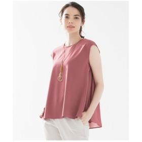 23区 【洗える】GEORGETTE Combi Jersey ノースリーブ カットソー Tシャツ・カットソー,オールドローズ系