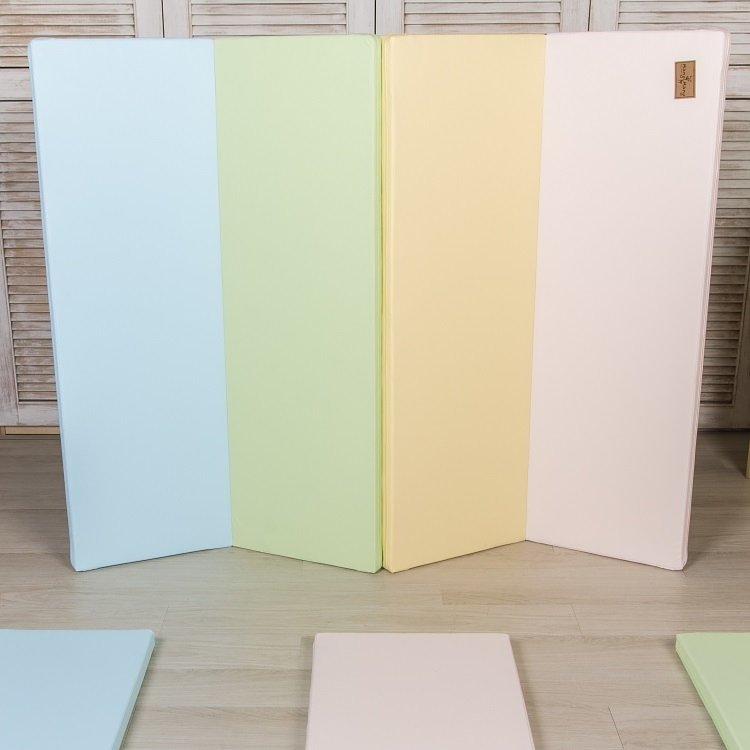 Mang Mang 小鹿蔓蔓 兒童4cm摺疊地墊-四折S款-粉嫩色
