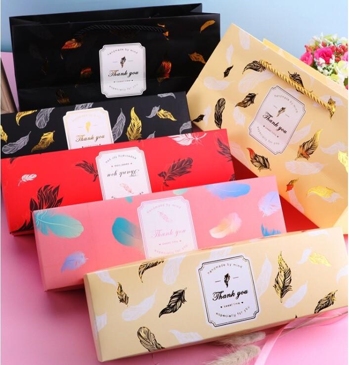 黑金羽毛 長方盒 天地蓋包裝盒 新年禮盒 牛軋糖盒 餅乾盒 蛋黃酥盒 紙盒 包裝紙盒 月餅盒c061