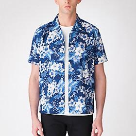 【Crestbridge 】アロハプリントオープンカラーハーフスリーブシャツ