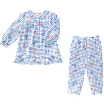 ミキハウス 【アウトレット】リーナちゃん フリル付き長袖チェックパジャマ ブルー