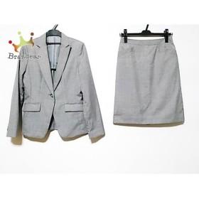 コムサイズム COMME CA ISM スカートスーツ サイズS レディース グレー×白 ストライプ   スペシャル特価 20191016