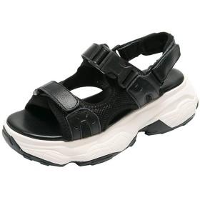 [天下] 厚底サンダル レディース 黒 22.5cm マジックテープ アンクルマジックテープ 走れる 美脚 軽量 通気 オープントゥ かわいい オシャレ 5cm ビーチ 靴 スニーカーサンダル ビーサン ビーチシューズ