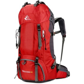 バックパック 多機能 登山 リュック 60L 大容量 登山用バッグ 軽量 高通気性 リュックサック 山登り 泊旅行 海外旅行 防災 ハイキング レインカバー付き (赤)