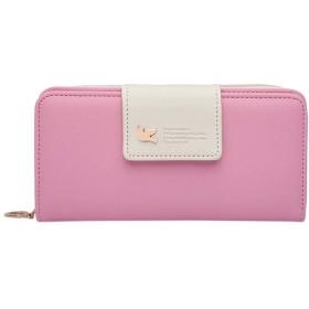 女性ロングファッションジッパーフライクラスプ財布カードホルダーバッグ 高級 大容量 多機能 女性プレゼント (ピンク)