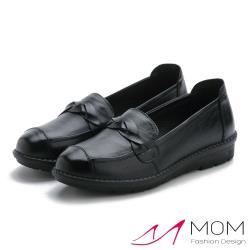 【MOM】真皮頭層牛皮辮條一字飾帶超軟底平底單鞋(黑)