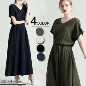 ◆時間限定◆ベルトの付き Vネック 2019 春夏人気新品 韓国ファッション 春夏の 大きいサイズ 半袖 ロングワンピ コットンリネン 、ワンピース 、ベルトのワンピース
