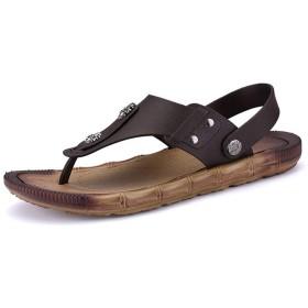 [シュウカ] ビーチサンダル メンズ ビーチサン メンズ 黒色 軽量 履きやすい ブラウン 大きいサイズ プレゼント ギフト カジュアル 滑らない 痛まない 疲れにくい オシャレ タウン用 27.5cm スタイリッシュ 通気性 サンダル トングサンダル