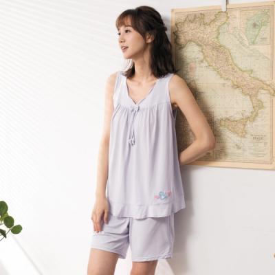 華歌爾睡衣-冰涼 M-L素面無袖家居短褲裝(淺紫)冰涼感紗