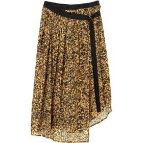 08sircus Flower Print gather wrap skirt ウォッシャブル ロング・マキシ丈スカート,mustard