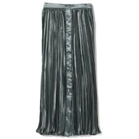 (BEAMS WOMEN/ビームス ウィメン)Ray BEAMS/サテン プリーツ マエボタン スカート/レディース NAVY