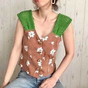 透かし編みショルダー花柄トップス green