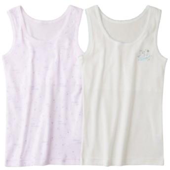 胸二重タンクトップ2枚組(女の子 子供服。ジュニア服) キッズ下着