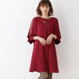 クチュール ブローチ Couture brooch 【WEB限定LLサイズ】シースルースリーブワンピース (ボルドー)