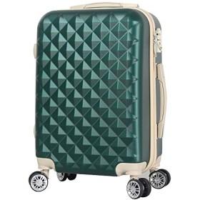 BASILO-012 キャリーバック スーツケース キャリーケース 人気 かわいい Mサイズ 48L 4~7日用 TSA キルト風 (モスグリーン, M)