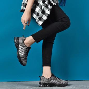 スニーカー - SVEC スニーカー ランニングシューズ レースアップシューズ レースアップスニーカー エアソール サイドライン メッシュ 素材 カジュアルメンズシューズ 男性用 紐 靴 くつ ブラック ネイビーレッド ホワイト 黒 紺 青 赤 白 韓国 ファッション 2018