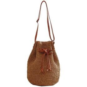 [ベィジャン] レディース 編みバッグ ストローバッグ 麦わらカバン ショルダーバッグ かごバッグ 大容量 人気 おしゃれ ファッション コーヒー F
