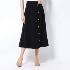 ルーミィーズ Roomy's リネンタッチボタンスカート (ブラック)