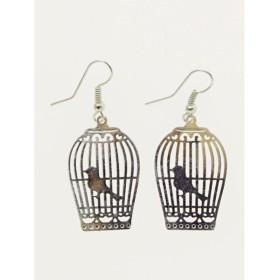 【カヤ】籠の小鳥ピアス シルバー
