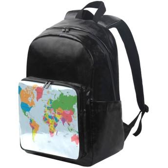 ユサキ(USAKI) リュック マップ柄 世界地図 ブルー リュックサック 大容量 軽量 メンズ レディース 高校生 通学 通勤 旅行 プレゼント対応