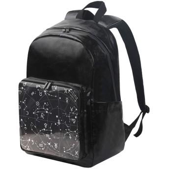 ユサキ(USAKI) リュック 星座 夜空 ブラック リュックサック 大容量 軽量 メンズ レディース 高校生 通学 通勤 旅行 プレゼント対応