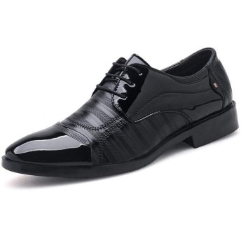 [PIRN] レースアップシューズ メンズ 27.5cm 紳士靴 外羽根 かっこいい ブラック カジュアル 軽量 滑り止め 吸汗性 足とぴったり 足痛くない 営業マン 通勤 ポインテッドトゥ レースアップ 普段用 通気快適 ドレスシューズ くつ