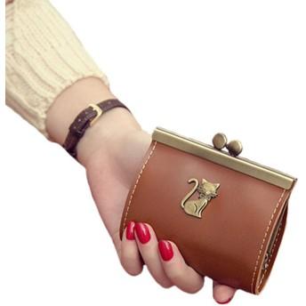レデース 無地 本革 可愛い 猫柄 レトロ コインケース おしゃれ パスケース ミニ財布 財布 小銭入れ ボタン型 収納財布 パタン3