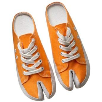 [えみり] レディース スニーカー かかとなし サンダル ミュール キャンバス スリッポン レースアップ 2本指 足袋シューズ 目立つ 面白い かわいい 通気性 履きやすい 旅行 ウォーキング オレンジ24.5