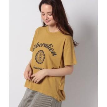 (Samansa Mos2/サマンサ モスモス)後ろタックプリントTシャツ/レディース マスタード