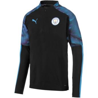 【プーマ公式通販】 プーマ マンチェスター・シティ MCFC 1/4 ジップ トップ メンズ Puma Black-Team Light Blue |PUMA.com