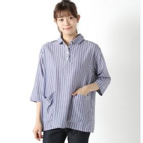 柔らかな綿100%フランス綾素材のプルオーバーシャツ